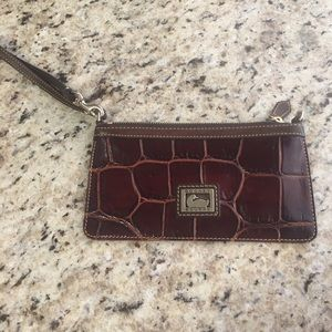 Dooney & Bourke Chocolate Croc Wristlet